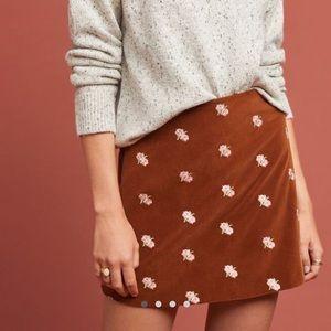 Rachel Antonoff Embroidered Velvet Mini Skirt